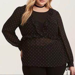 Torrid polka dot print ruffle tie blouse size 3X